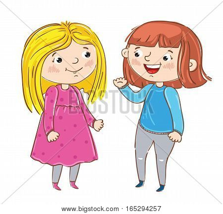 Happy young girl cartoon characters isolated on white background vector illustration. Two girlfriends having fun, standing, smiling and chatting, happy people concept. Hand drawn funny young girl. Friendship concept. Girls friendship.