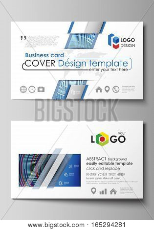 Business card templates. Easy editable layout, abstract vector design template. Blue color background in minimalist style made from colorful circles