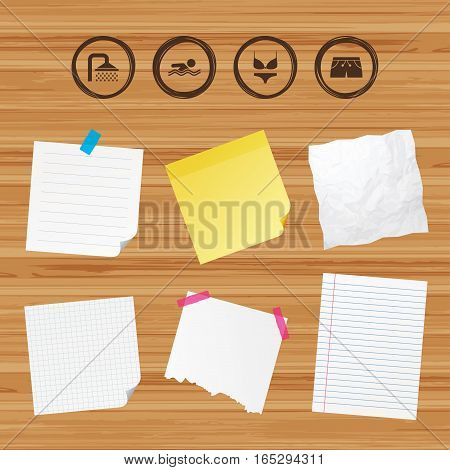 Business paper banners with notes. Swimming pool icons. Shower water drops and swimwear symbols. Human swims in sea waves sign. Trunks and women underwear. Sticky colorful tape. Vector