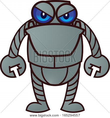 Grumpy Robot Vector Cartoon Illustration Isolated on White