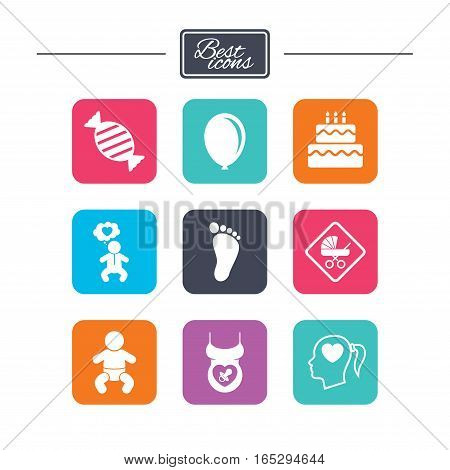 Pregnancy, maternity and baby care icons. Candy, strollers and pacifier signs. Footprint, birthday cake and heart symbols. Colorful flat square buttons with icons. Vector
