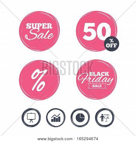 Super sale and black friday stickers. Diagram graph Pie chart icon. Presentation billboard symbol. Man standing with pointer sign. Shopping labels. Vector