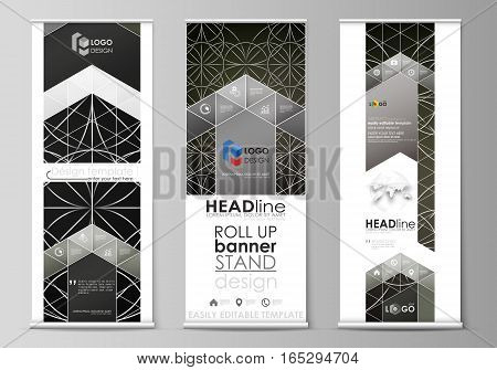 Set of roll up banner stands, flat design templates, abstract geometric style, modern business concept, corporate vertical vector flyers, flag layouts. Celtic pattern. Abstract ornament, geometric vintage texture, medieval classic ethnic style.
