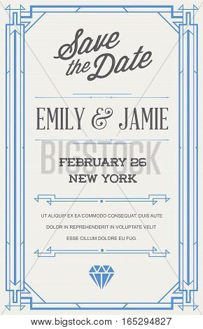 Great Quality Style Invitation in Art Deco or Nouveau Epoch 1920's Gangster Era Vector