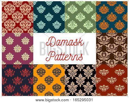 Flowery seamless Damask vector patterns set of ornate baroque floral embellishment motif and flourish ornament tracery. Luxury royal flowers ornamental adornment backdrop and tiles for interior design