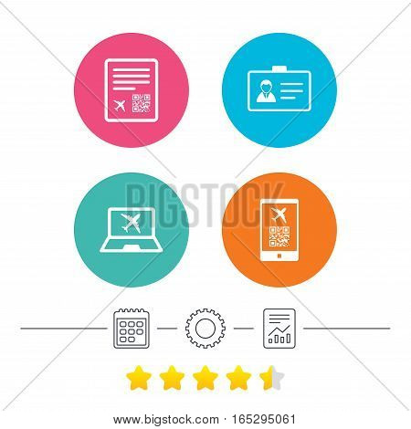 QR scan code in smartphone icon. Boarding pass flight sign. Identity ID card badge symbol. Calendar, cogwheel and report linear icons. Star vote ranking. Vector