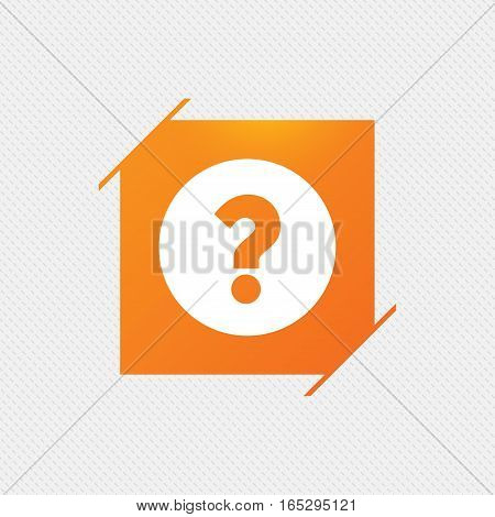 Question mark sign icon. Help symbol. FAQ sign. Orange square label on pattern. Vector