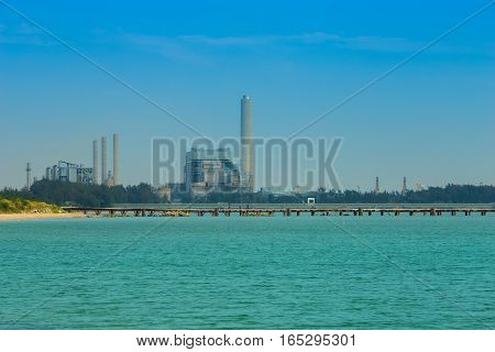 Electrical Power Plant Near The Sea, Rayong, Thailand