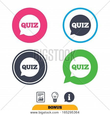 Quiz speech bubble sign icon. Questions and answers game symbol. Report document, information sign and light bulb icons. Vector