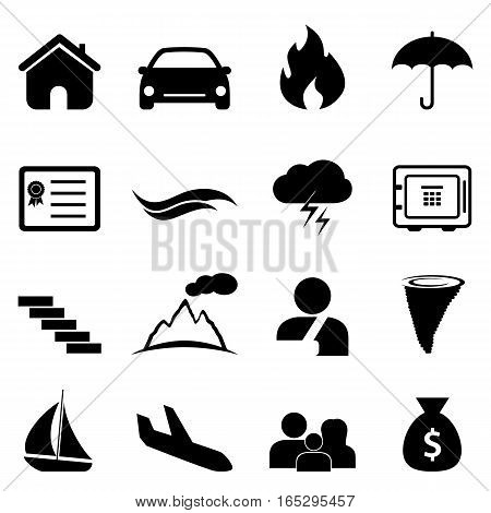 Insurance accident and natural disaster icon set