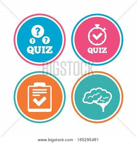 Quiz icons. Human brain think. Checklist and stopwatch timer symbol. Survey poll or questionnaire feedback form sign. Colored circle buttons. Vector