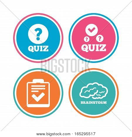 Quiz icons. Human brain think. Checklist with check mark symbol. Survey poll or questionnaire feedback form sign. Colored circle buttons. Vector