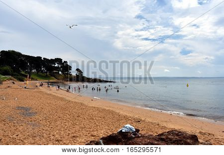 Cowes Australia - December 29 2016. Panorama of Cowes beach on Philip Island Victoria Australia. Cowes is the main township on Phillip Island.