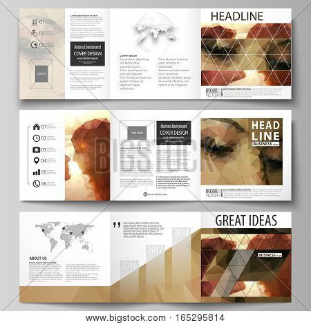 Set of business templates for tri fold square design brochures. Leaflet cover, abstract flat layout, easy editable vector. Romantic couple kissing. Beautiful background. Geometrical pattern in triangular style.