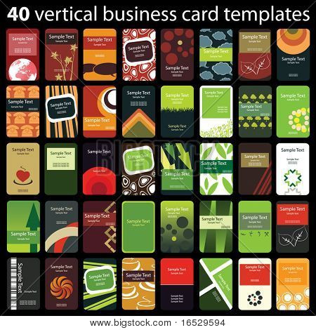 40 Cartões verticais coloridas