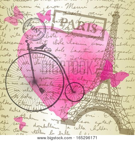 table top with sketching paper on hand-drawn writing background with eiffel tower and watercolor heart and retro bicycle perfect for Valentine s day background