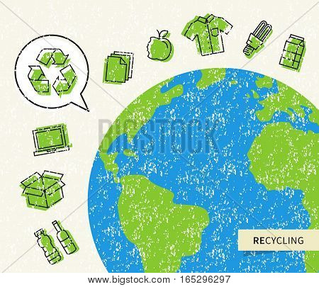 Planet earth with recyclable things vector illustration. Ecological concept with recycle sign.