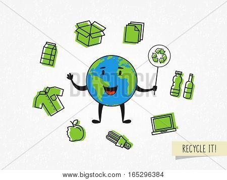 Cartoon character planet earth with recyclable things vector illustration. Ecological concept with recycle sign.
