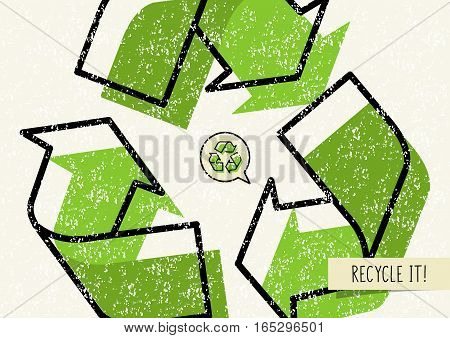 Recycle it vector poster. Recycle symbol with recyclable things creative illustration.