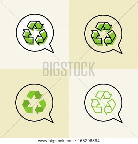 Recycle vector signs. Recyclable symbols graphic design.