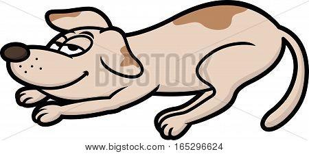 Lazy Dog Cartoon Character Isolated on White
