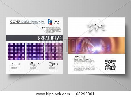 Business templates for square design brochure, magazine, flyer, booklet or annual report. Leaflet cover, abstract flat layout, easy editable vector. Bright color colorful design, beautiful futuristic background.