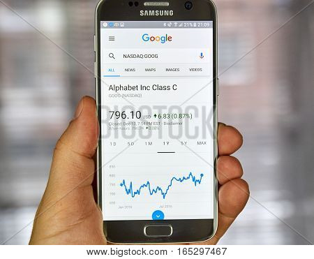 MONTREAL CANADA - DECEMBER 23 2016 : Google Finance page with stock chart and Google ticker on Samsung S7 screen.