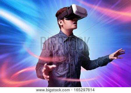 Man using virtual reality glasses high tech