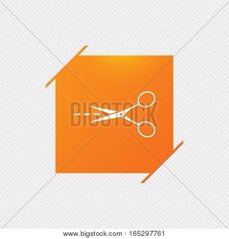 Scissors with cut dash dotted line sign icon. Tailor symbol. Orange square label on pattern. Vector