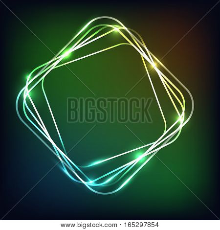 Abstract neon background with rounded rectangle, stock vector