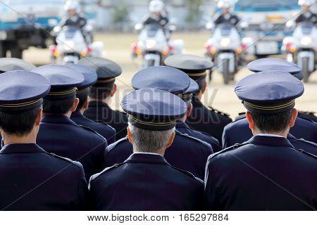 KAGAWA, JAPAN - JANUARY 6: Japanese police officers, police motorcycle, Sietusiki ceremony. January 6, 2017 in Kagawa, Japan.