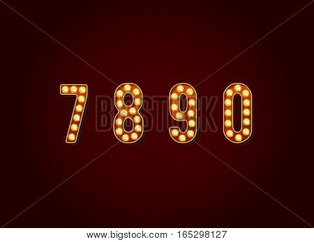 Casino or Broadway Signs style light bulb Digits Numbers Character in Vector Set