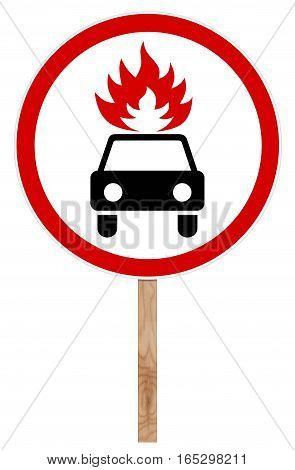 Prohibitory traffic sign isolated on white illustration - Movement flammable cargo