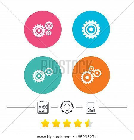 Cogwheel gear icons. Mechanism symbol. Website or App settings sign. Working process performance. Calendar, cogwheel and report linear icons. Star vote ranking. Vector