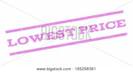 Lowest Price watermark stamp. Text tag between parallel lines with grunge design style. Rubber seal stamp with scratched texture. Vector violet color ink imprint on a white background.