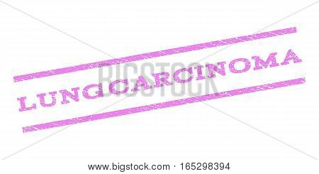 Lung Carcinoma watermark stamp. Text tag between parallel lines with grunge design style. Rubber seal stamp with unclean texture. Vector violet color ink imprint on a white background.