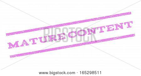 Mature Content watermark stamp. Text caption between parallel lines with grunge design style. Rubber seal stamp with unclean texture. Vector violet color ink imprint on a white background.