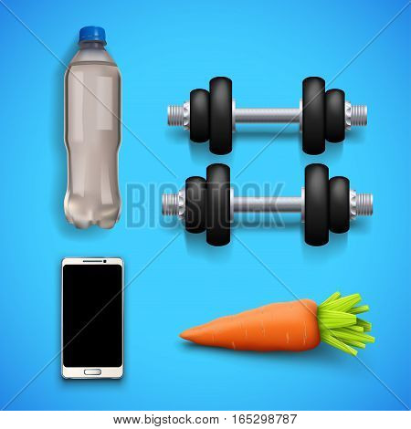 illustration of fitness set equipment with shadow on blue background
