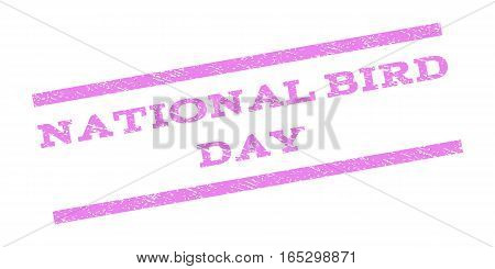 National Bird Day watermark stamp. Text caption between parallel lines with grunge design style. Rubber seal stamp with dirty texture. Vector violet color ink imprint on a white background.