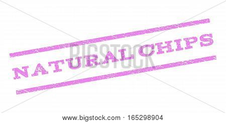 Natural Chips watermark stamp. Text caption between parallel lines with grunge design style. Rubber seal stamp with dust texture. Vector violet color ink imprint on a white background.