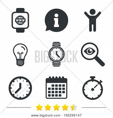 Smart watch with internet icons. Mechanical clock time, Stopwatch timer symbols. Wrist digital watch sign. Information, light bulb and calendar icons. Investigate magnifier. Vector