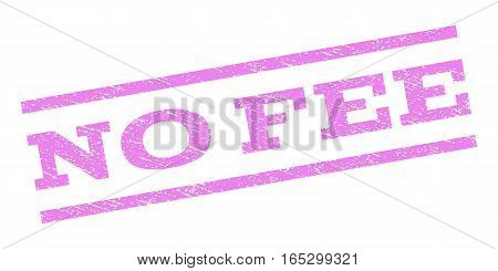 No Fee watermark stamp. Text tag between parallel lines with grunge design style. Rubber seal stamp with unclean texture. Vector violet color ink imprint on a white background.