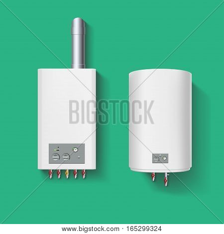 illustration of gas boiler and heating boiler with shadows on green background
