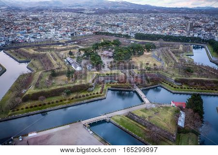 Bird's-Eye View the Goryokaku is a star-shaped fort. The Tower Observatory commands a panoramic, on winter Hokkaido, Japan