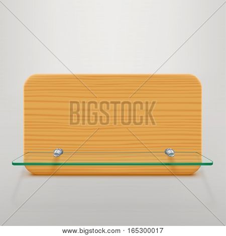 illustration of transparent glass shelf with wooden board on bright bakground