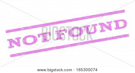 Not Found watermark stamp. Text tag between parallel lines with grunge design style. Rubber seal stamp with dust texture. Vector violet color ink imprint on a white background.