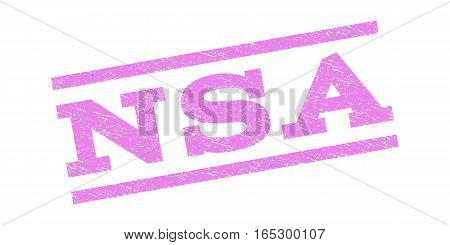 NSA watermark stamp. Text caption between parallel lines with grunge design style. Rubber seal stamp with unclean texture. Vector violet color ink imprint on a white background.