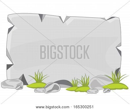 Flat stone plate on white background is insulated