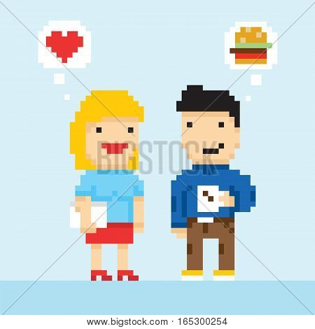 Pixel art game style office colleagues in love vector illustration