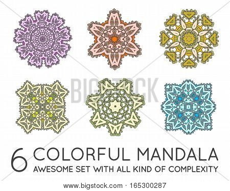Set of Ethnic Fractal Mandala Vector Meditation looks like Snowflake or Maya Aztec Pattern or Flower too Isolated on White Colorful